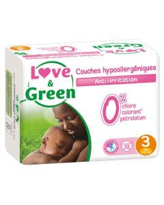 Love & Green Couches Hypoallergéniques Taille 3 x 32 couches