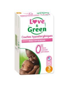 Love & Green Couches Hypoallergéniques Taille 3 Jumbo Pack x 52 couches