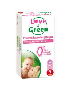 Love & Green Couches Hypoallergéniques Taille 4 Jumbo Pack x 46 couches