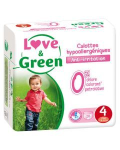 Love & Green Culottes Apprentissage Hypoallergéniques Taille 4 x 20 culottes