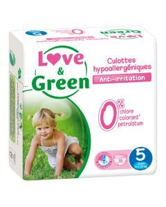 Love & Green Culottes Apprentissage Hypoallergéniques Taille 5 x 18 culottes