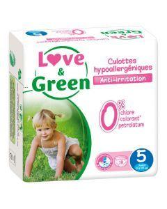 Love & Green Culottes Apprentissage Hypoallergéniques Taille 5 x 18 culottes