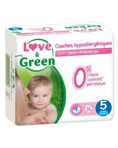 Love & Green Couches Hypoallergéniques Taille 5 x 26 couches
