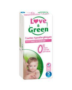 Love & Green Couches Hypoallergéniques Taille 5 Jumbo Pack x 40 couches