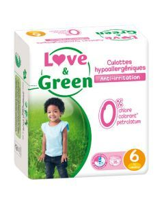 Love & Green Culottes Apprentissage Hypoallergéniques Taille 6 x 16 culottes