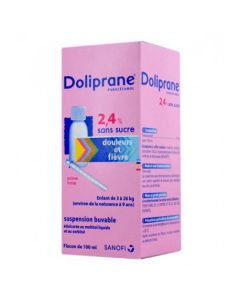 Doliprane 2.4 % sans sucre suspension buvable 100 ml