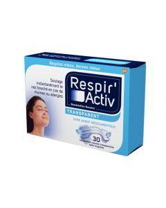 Respir'Activ Bandelettes Nasales Transparents 30 Bandelettes
