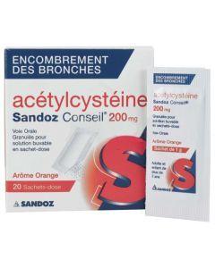 Acétylcystéine Sandoz conseil 200 mg