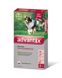 Bayer Advantix Antiparasitaire Chiens Moyens de 10kg à 25kg 4 Pipettes