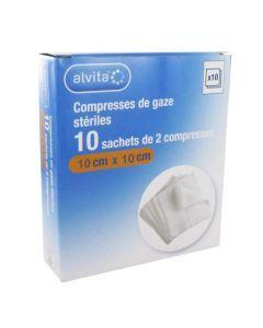 Alvita Compresse Stérile de Gaze 10x10 10 Sachets
