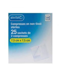 Alvita Compresses en Non-tissé Stériles 7,5x7,5 25 Sachets