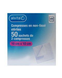 Alvita Compresse Stérile de Gaze 10cm X 10cm 50 Sachets