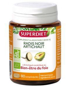 Superdiet Radis Noir Artichaut Bio 80 Comprimés