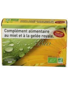 Exopharm Gelée Royale Bio Complément Alimentaire au Miel et à la Gelée Royale Boite de 20 ampoules buvables de 10ml