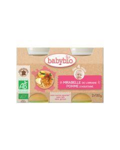 Babybio Petits Pots Mirabelle de Lorraine & Pomme d'Aquitaine Biologique dès 4 Mois 2x130g