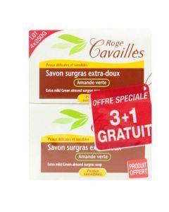 Rogé Cavaillès Savon Surgras Extra Doux Amande Verte lot de 3x250g + 1 Gratuit