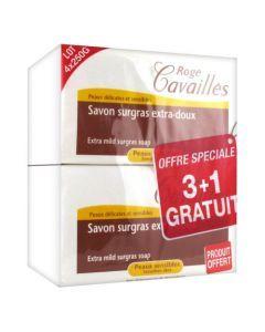 Rogé Cavaillès Savon Surgras Extra Doux lot de 3x250g + 1 Gratuit