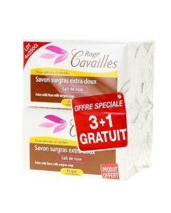Rogé Cavaillès Savon Surgras Extra Doux Lait de Rose lot de 3x250g + 1 Gratuit