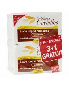 Rogé Cavaillès Savon Surgras Extra Doux Lait et Miel lot de 3x250g + 1 Gratuit