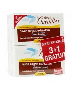 Rogé Cavaillès Savon Surgras Extra Doux Fleur de Coton lot de 3x250g + 1 Gratuit