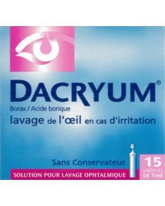 Dacryum solution pour lavage ophtalmologique 15 unidoses 5 ml