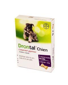 Drontal Chien Comprimé Appétent Vermifuge contre les vers ronds et plats - 2 Comprimés Sécables