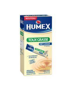 Humex 750mg Solution Buvable Expectorant Carbocistéine Sans Sucre 15 Sachets de 10ml
