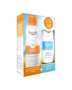 Eucerin Sun Sensitive Protect Brume Transparente SPF50 200ml + Sensitive Relief After Sun Gel-Crème 150ml