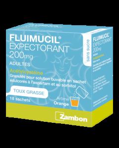 Fluimucil Expectorant 200mg Adultes Granulés pour Solution Buvable 18 sachets