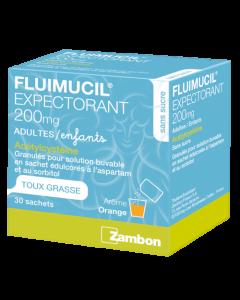 Fluimucil Expectorant 200mg Adultes Granulés pour Solution Buvable 30 sachets