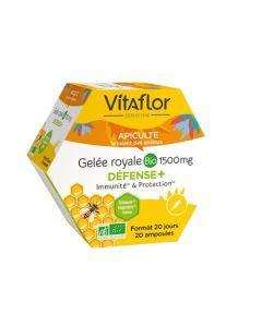 Vitaflor Gelée Royale Bio Défense+ 1500mg 20 ampoules