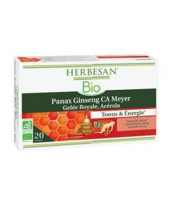 Herbesan Ginseng Gelée Royale Vitamine C Acérola Bio 20 ampoules