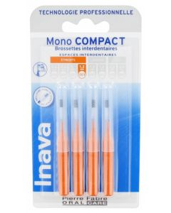 Inava Mono Compact 4 Brossettes Interdentaires Orange taille 1,2mm