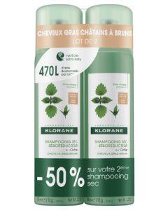 Klorane Shampooing Sec Séborégulateur Cheveux Gras Châtains à Bruns 2x 150ml