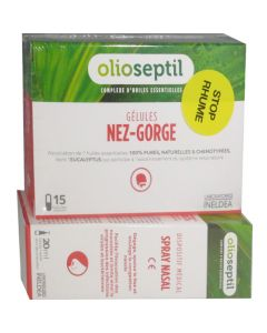 Olioseptil 15 gélules nez-gorge + Spray Nasal 20ml