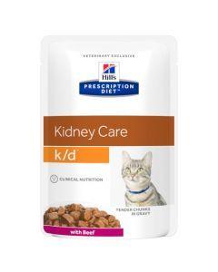 Hill's Prescription Diet K/D Aliment pour Chat au Bœuf 12 x 85g