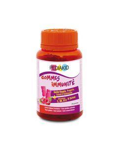 Pediakid Gommes Immunité Pilulier 60 Oursons Goût Framboise