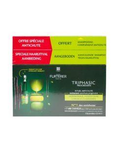 René Furterer Triphasic Progressive  Rituel Anti-Chute Boite de 8 Flacons de 5,5ml + Shampooing offert