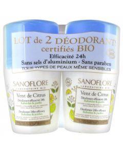 Sanoflore Vent de Citrus Déodorant 24h Roll On 2 x 50ml