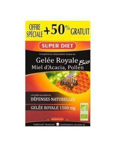 Super Diet Gelée Royale Miel Pollen Bio - 30 Ampoules de 15Ml