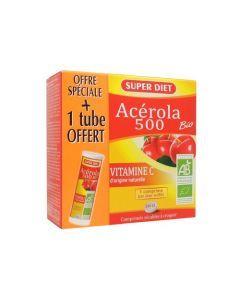 Super Diet Acerola 500 Bio 24 Comprimés + 1 Tube 12 Comprimés