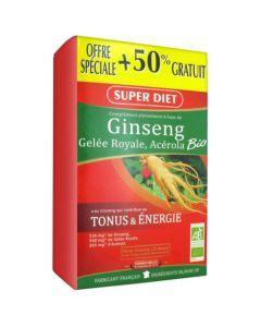 Super Diet Ginseng Gelée Royale Acérola Bio - 30 Ampoules de 15Ml