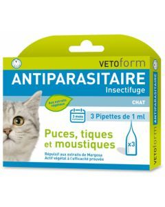 Vetoform Antiparasitaire Insectifuge Chat 3 Pipettes