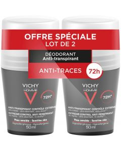 Vichy Déodorant Contrôle Extrême 72h Bille 50ml X2