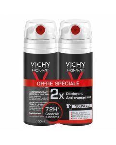 Vichy Homme Déodorant Triple Diffusion 72h Aérosol Duo 2x150ml