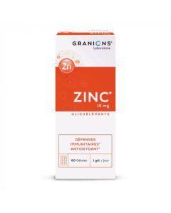 Granions Zinc 15mg Oligoéléments Défenses Immunitaires Antioxydant 60 Gélules